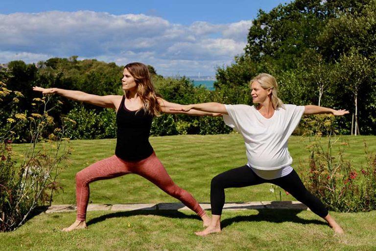 madeline shaw and joanna hunt warrior yoga pose